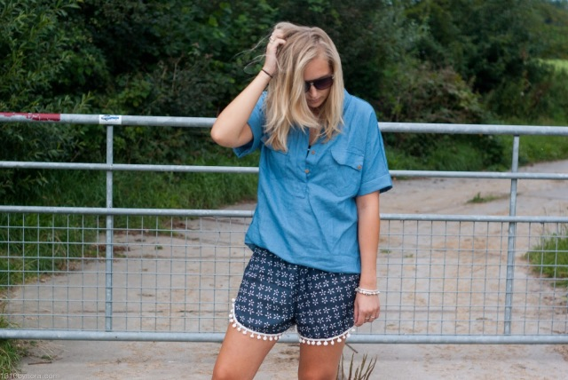 Outfit, Look, Shorts, Denim