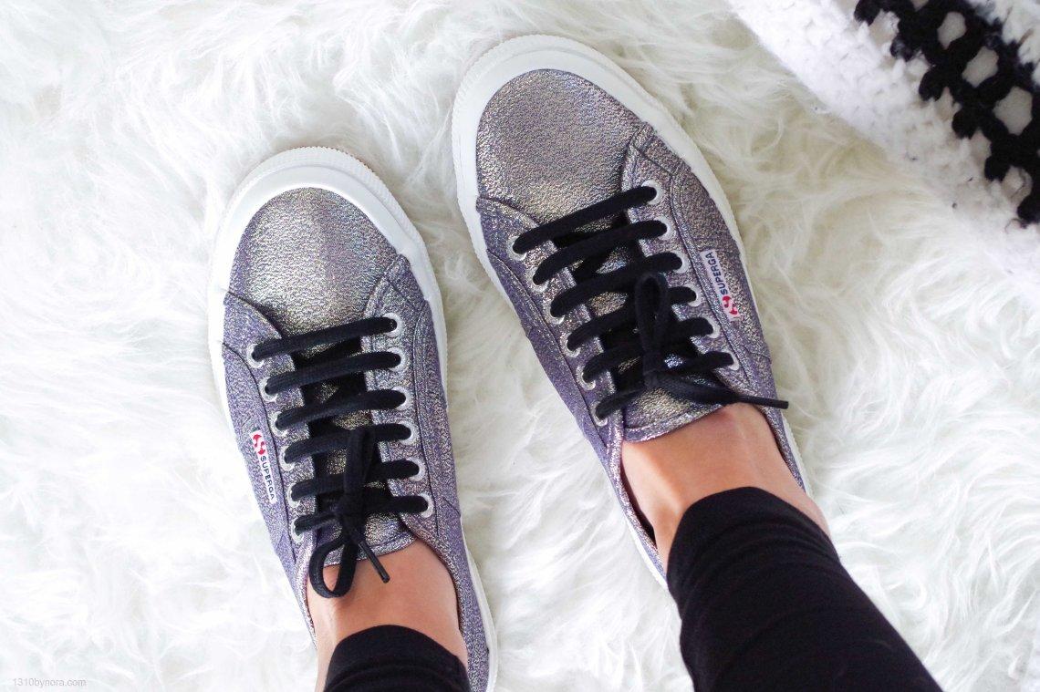 Superga sneakers, Grijs, Glitter, Nelson schoenen, 1310bynora