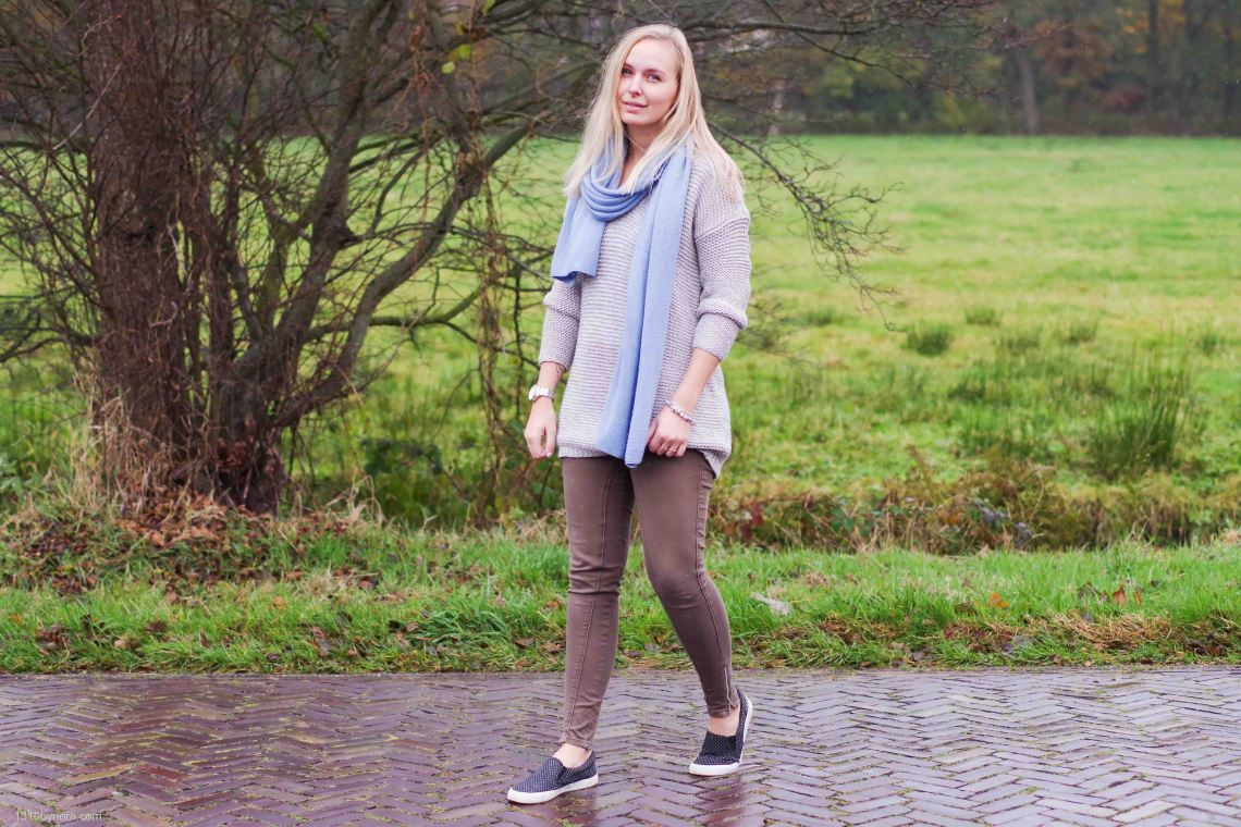 Outfit, Look, style, grey knit, 1310bynora