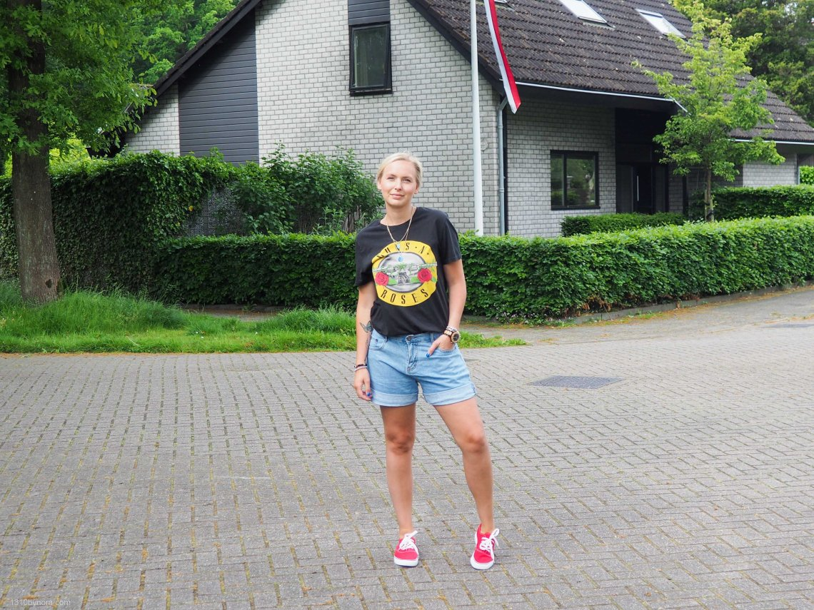 Outfit, style, 1310bynora, denim shorts, red sneakers,