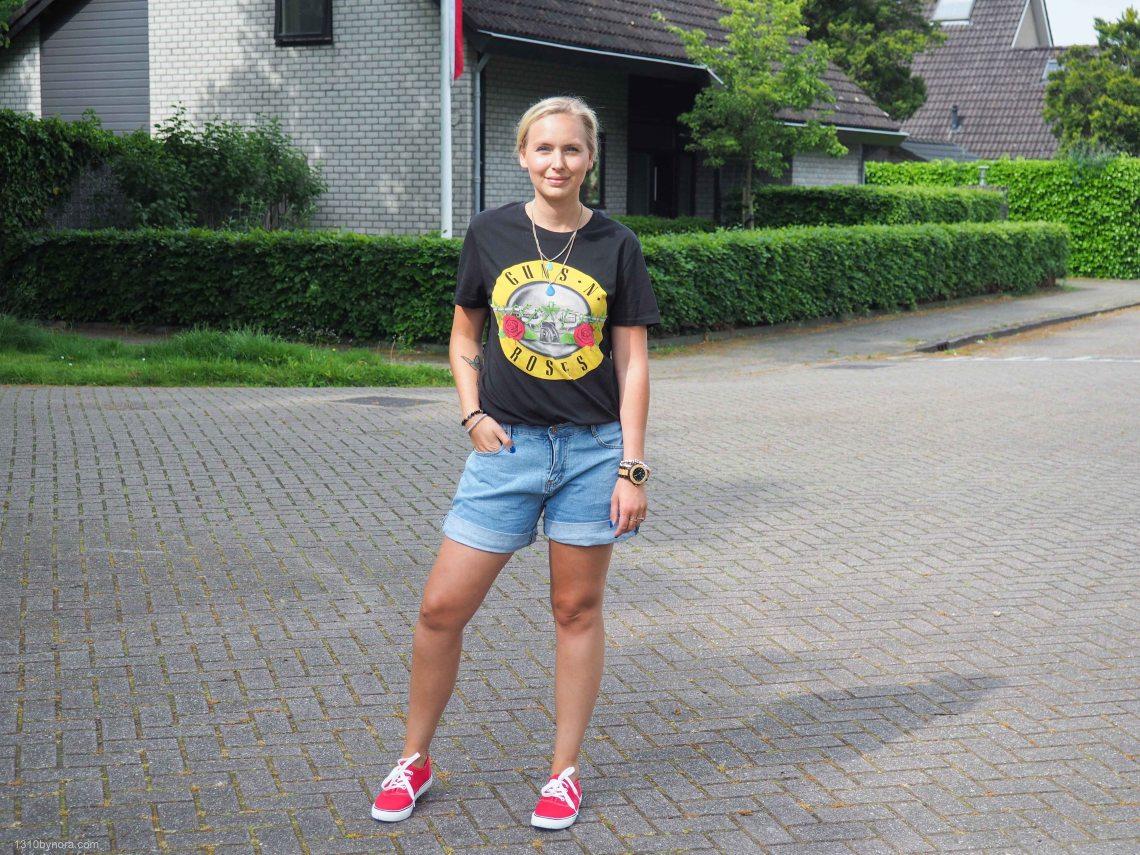 H&M guns n roses shirt, denim shorts, spring style, style inspiration shorts,